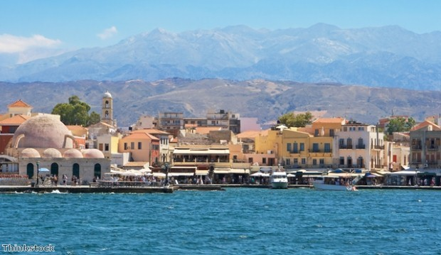 Chania harbour in Crete, Greece