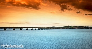 The Tay Bridge spans the Firth of Tay