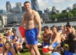 Ben led a beachwear-clad flash mob in central London