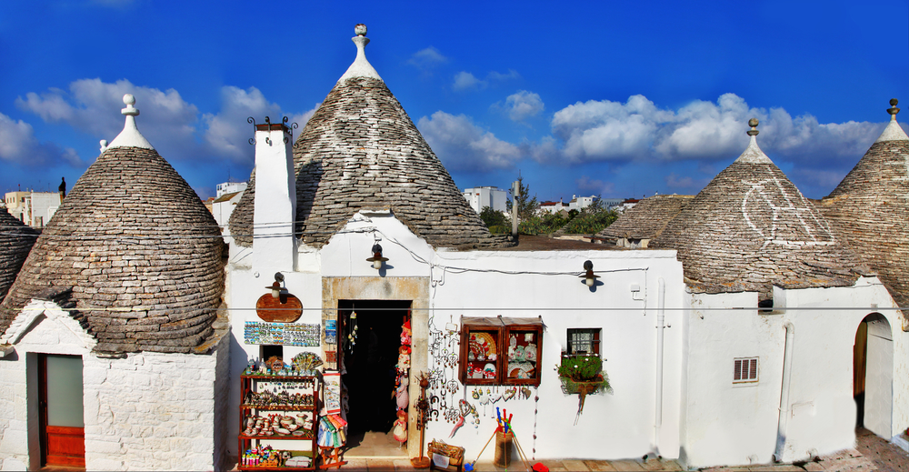 Unique Trulli houses with conical roofs in Alberobello, Italy