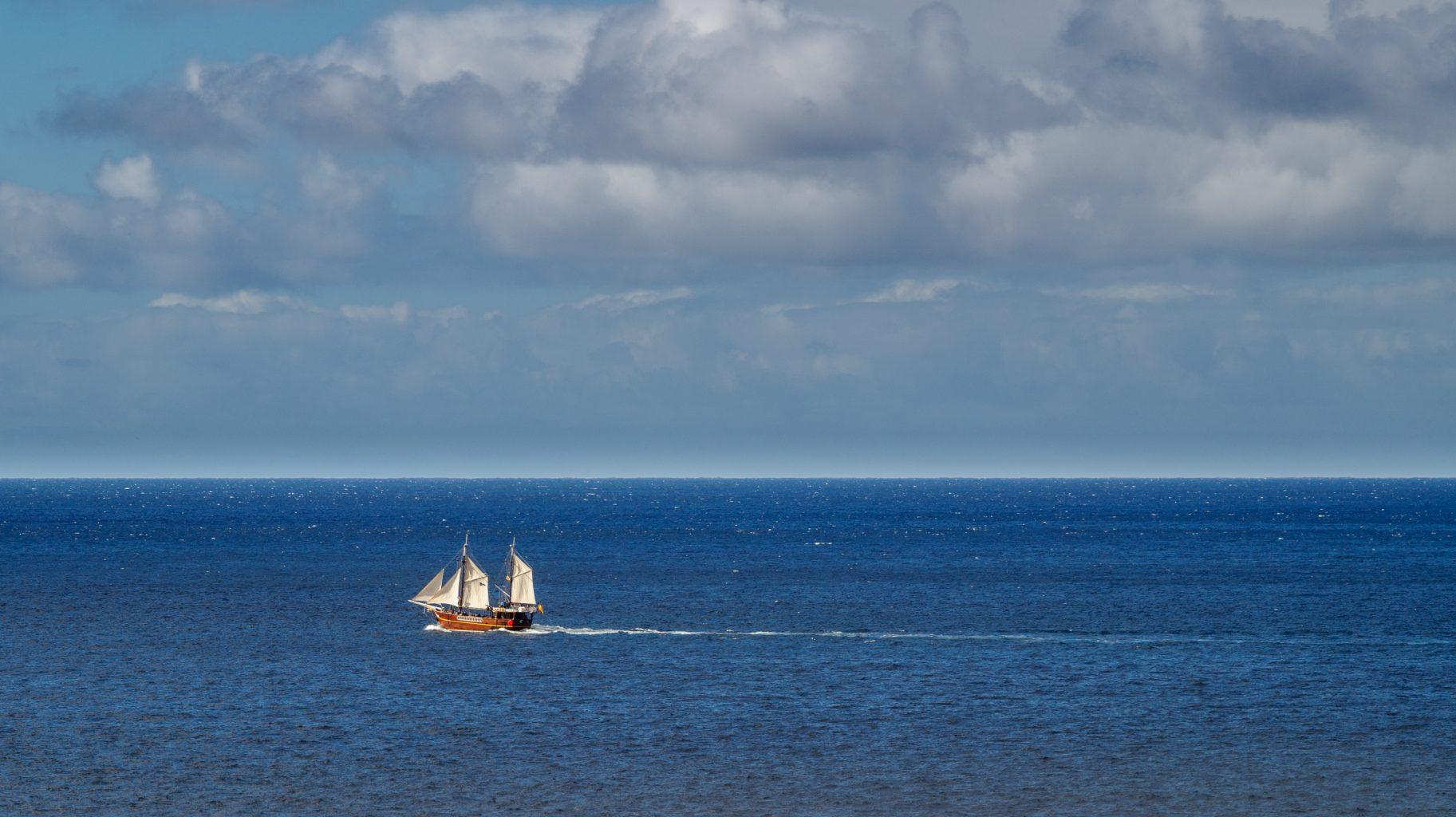 Pirate recreational sailing boat in Atlantic ocean near Tenerife